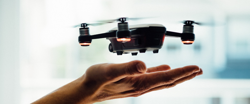 Drone and hands